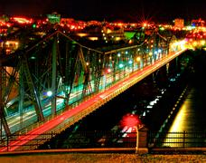 Night photo of bridge in Ottawa Canada - stock photo