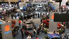 Busy car show people traffic acura honda Stock Footage