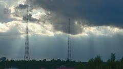 Sun shining through clouds after rain Stock Footage