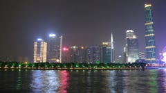 Ersha Island is in front of Zhujiang New Town and Twin Tower in night Stock Footage
