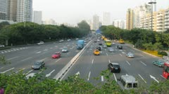 Green leaves are over highway where many cars - stock footage