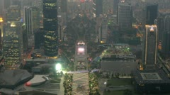 Panorama of night Zhujiang New Town there go cars - stock footage