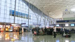 People wait for embarkation in planes in Central terminal of airport Divopu Stock Footage