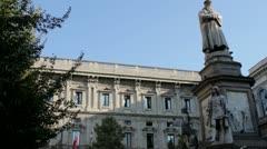 Leonardo Da Vinci Statue in Milan, Italy Stock Footage