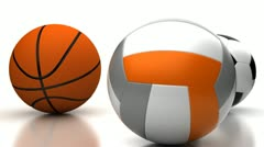 Football, Basketball and Volleyball Stock Footage