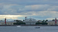 Old Saint Petersburg Stock Exchange and Rostral Columns Stock Footage