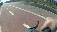 Subjective on bike braking Stock Footage