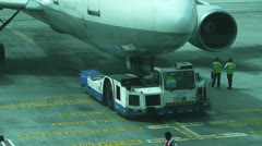 Airplane taxied to a runway Stock Footage