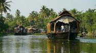 Stock Video Footage of Houseboats at Kerala Backwaters in India