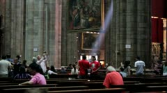 Ray of Light inside Duomo Cathedral in Milan, Italy Stock Footage