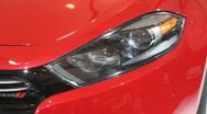 Red car headlight closeup Stock Footage