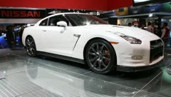 White sports car nissan gtr Stock Footage