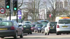Mid of busy car junction timelapse Stock Footage