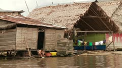 Slums At River (Southamerica, Amazon, Peru) - stock footage