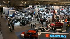 auto car show overhead busy people - stock footage