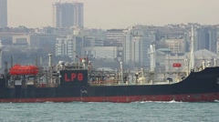 Liquefied petroleum gas ship. Zoom in to LPG Stock Footage