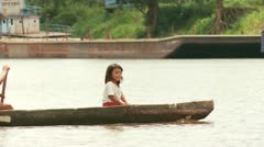 Children in Boat On Amazon River Stock Footage