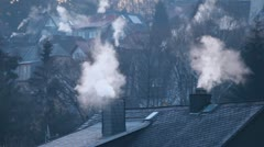 House chimneys in winter time Stock Footage