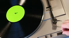 Record turntable with greenscreen center 1 Stock Footage