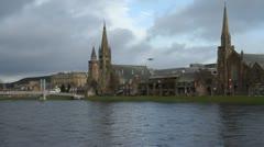 Bridge over River Ness and Inverness skyline Scotland Stock Footage