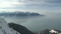 Alpine View Over Lake Geneva Switzerland Stock Footage