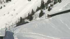 Alpine Train In Winter Landscape Stock Footage