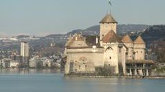 Chateau de Chillon By Lake Geneva Switzerland - stock footage