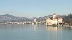 Chateau de Chillon By Lake Geneva Switzerland Stock Footage