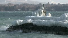 Extreme Ice Storm Hits Lake Front Stock Footage