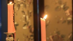 Candelabra, burning candles, sports lens - stock footage