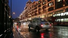 Harrods Departmentstore in London, UK Stock Footage