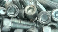 A Pile of Metal Bolts Stock Footage