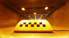 Taxi Speeding Through A Tunnel Stock Footage