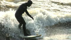 River Surfer Riding a Wave Stock Footage