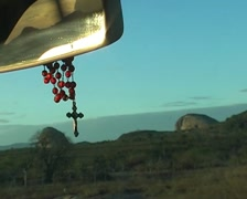 Road and crucifix Stock Footage
