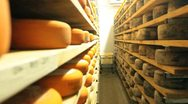 Stock Video Footage of Blue cheese gouda Factory food process parmesan swiss dairy feta france milk