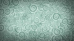 Pale gray turquoise curles ornatment loop background Stock Footage