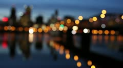 Portland Oregon Downtown City Skyline at Blue Hour with Bokeh - stock footage