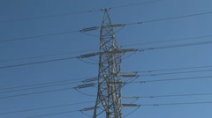 Electric power transmission lines. Center - stock footage