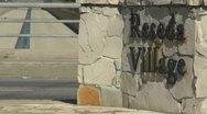 Inscription on irregular stone slabs Stock Footage