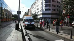 Spanish paramedics red cross in ambulance Stock Footage