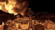 Graveyard cemetery halloween tomb evil scary horror ghost pumpkin zombie death Stock Footage