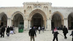 People walking into and around Al Aqsa Mosque in Jerusalem Stock Footage