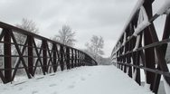 Stock Video Footage of Trail's bridge covered in snow