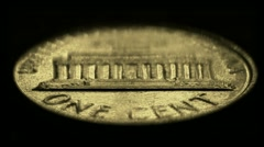 One-cent United States coin, reverse side Stock Footage