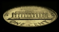 Stock Video Footage of One-cent United States coin, reverse side