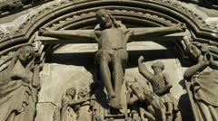 Decorative statue of jesus on the cross at the Nidaros cathedral Stock Footage