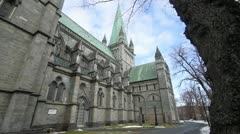 Exterior wide shot of the Nidaros cathedral Stock Footage