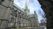 Stock Video Footage of Exterior wide shot of the Nidaros cathedral