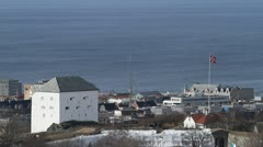 Kristiansten fortress with the city and fjord of Trondheim in the background Stock Footage